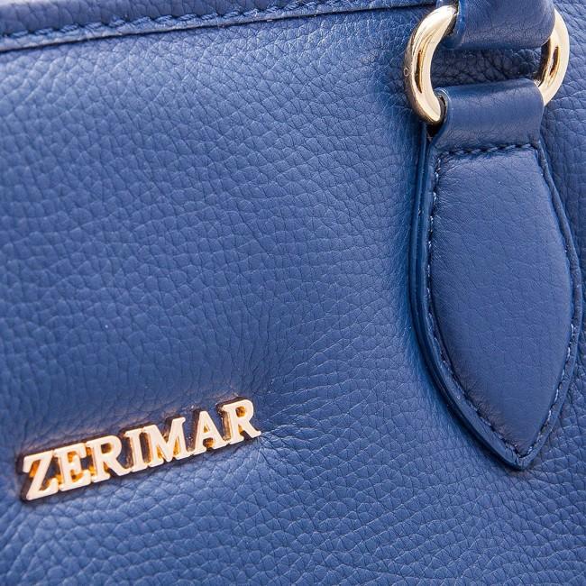 Bolso de piel natural en color azul marino 27.5x28x17.5 cm