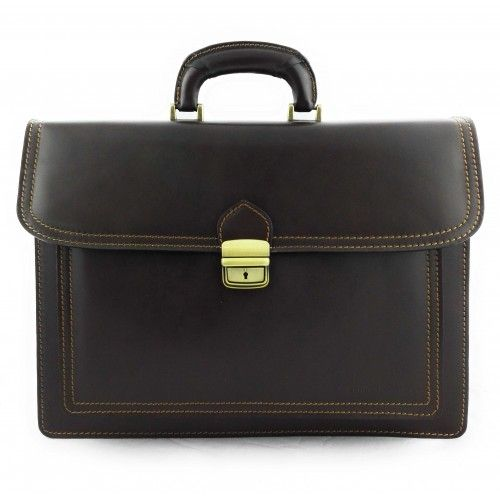 Leather briefcase with...