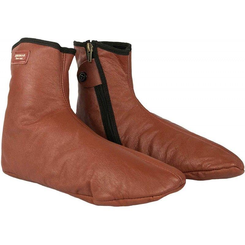 Zapatillas de casa de piel con cierre de cremallera