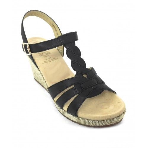 Sandales compensées en cuir...