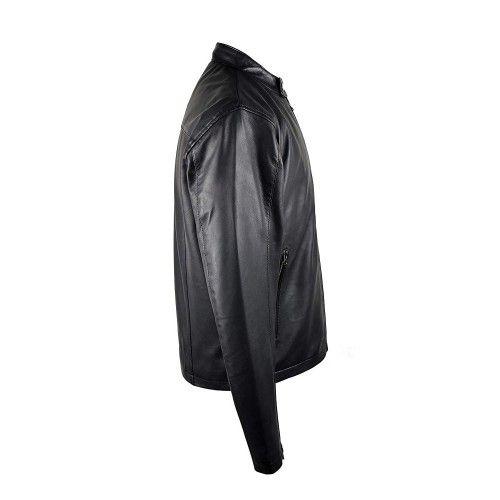 Basic style black leather...