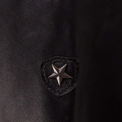 Black leather jacket with...