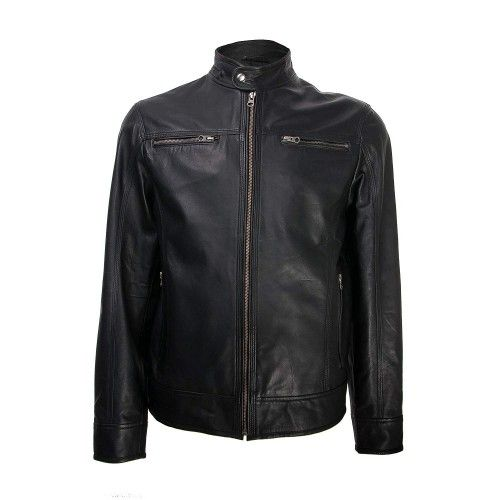 Leather jacket with gold...