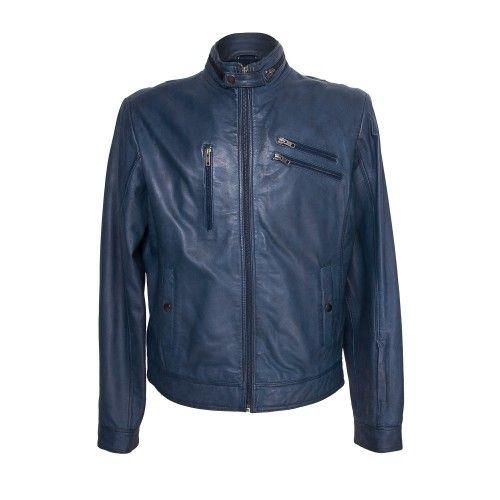 Navy blue leather jacket...