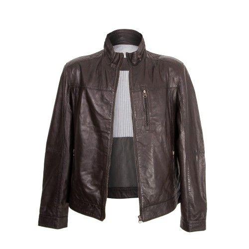 Dark brown leather jacket...