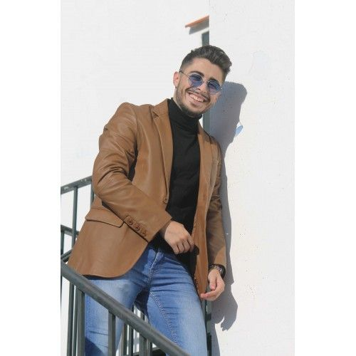 Natural leather blazer with...
