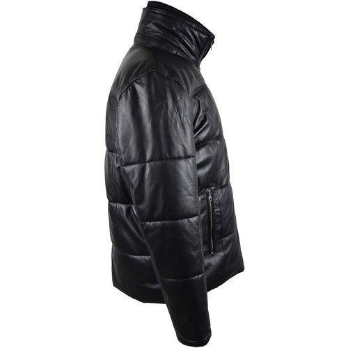 Leather Padded Jacket in...