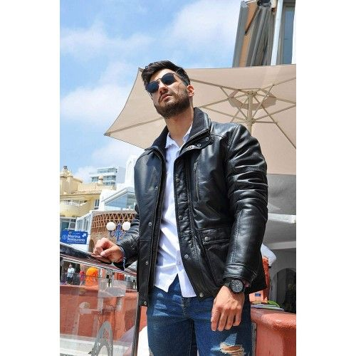 Leather Padded Jacket with...