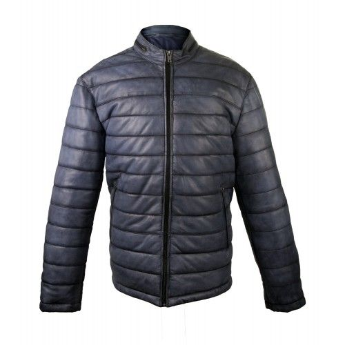 Padded leather jacket with...