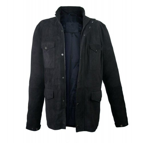 Suede jacket with double...