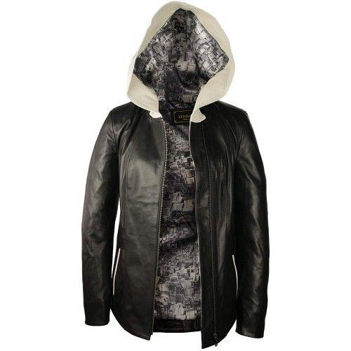 Leather Jacket with Hood...