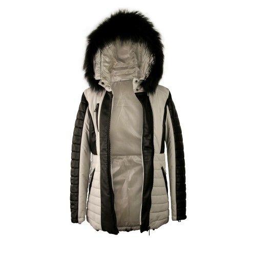 Abrigo bicolor de napa con...