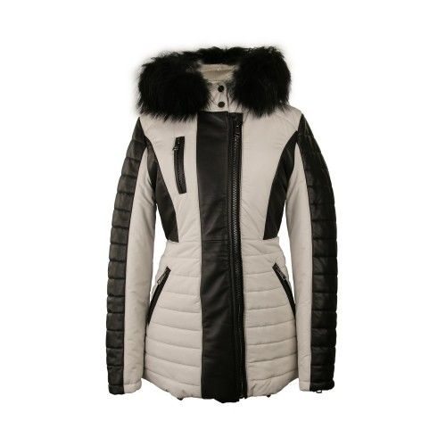 Two-tone napa coat with fox...