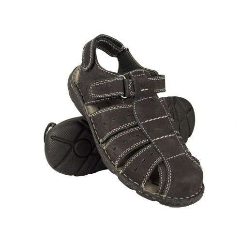 Closed leather sandals with...