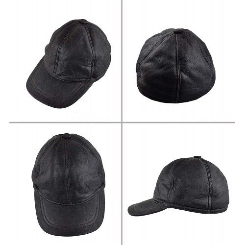 Leather baseball cap with...