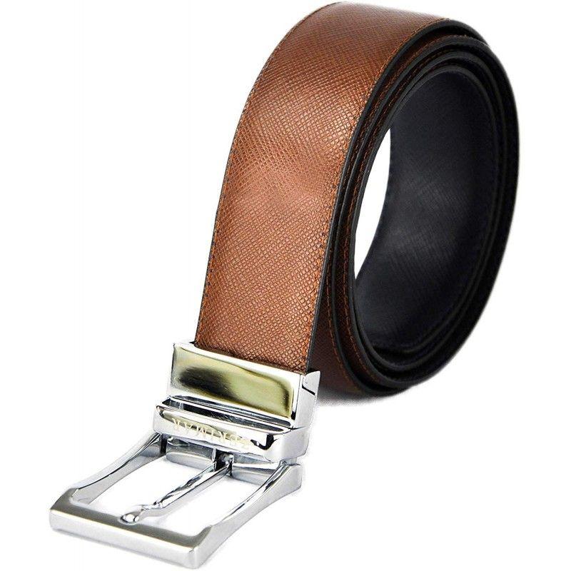 Cinturón reversible de piel estilo elegante 3.5 cm de anchura