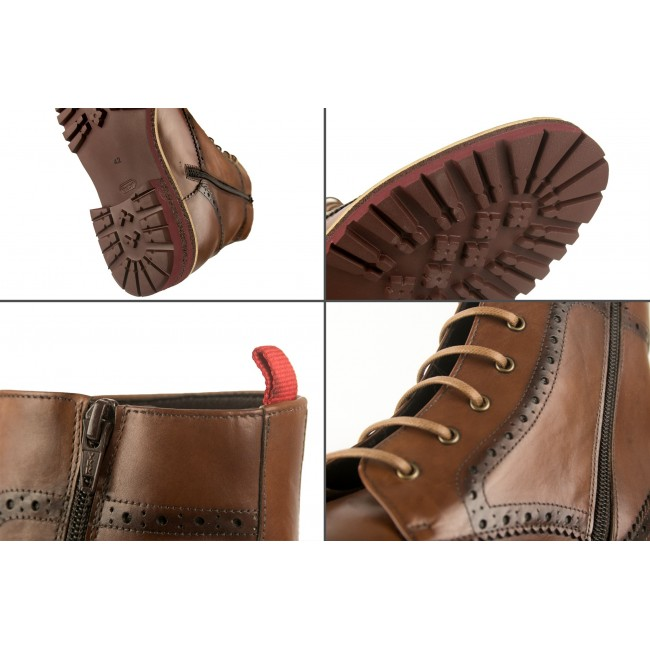 Leather boots oxford style with 7 cm internal rise