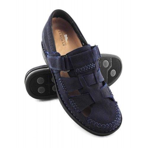Skórzane sandały męskie ze...