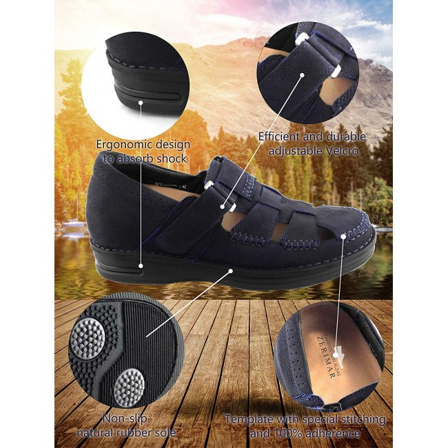 Leather Sandals for Men, Elevator Shoes 2,7 in, Leather Sandals Men