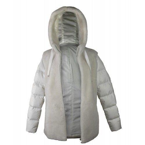 Abrigo blanco de mouton con...