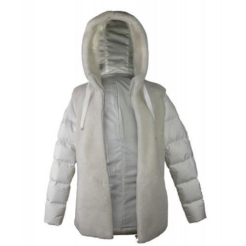 White mouton coat with hood