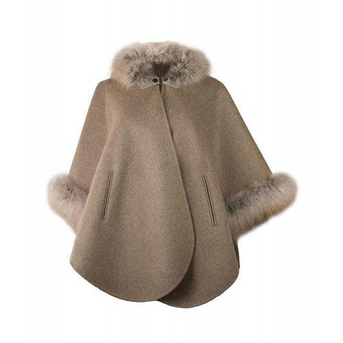 Brązowo-beżowy płaszcz z lisa