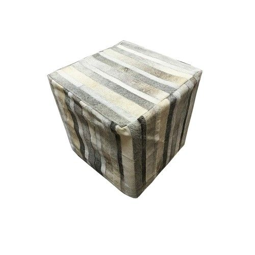 Cowhide Stool, 17x17x17 in,...