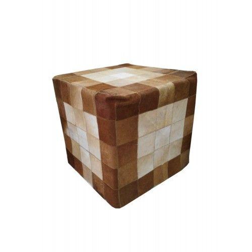 Cowhide Wood Stool, 17x17...