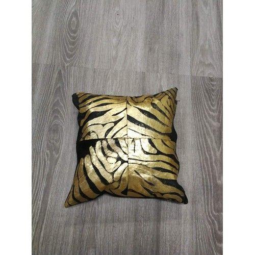 Cowhide Cushion Gold...