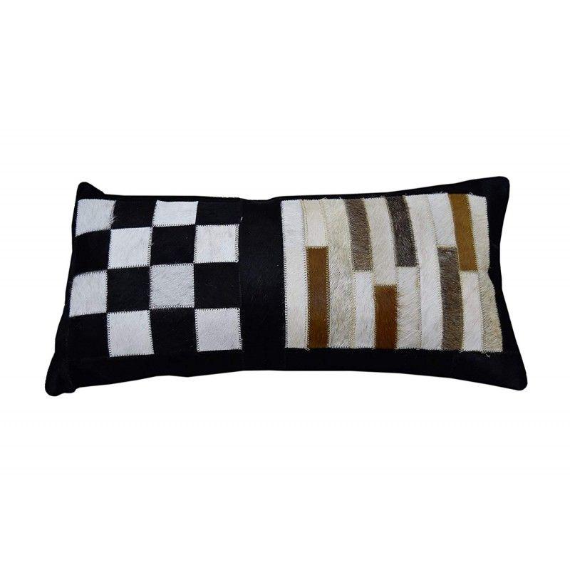 Cowhide Cushion Patchwork, 11x22, Leather Cushion Decorative Cushion 3