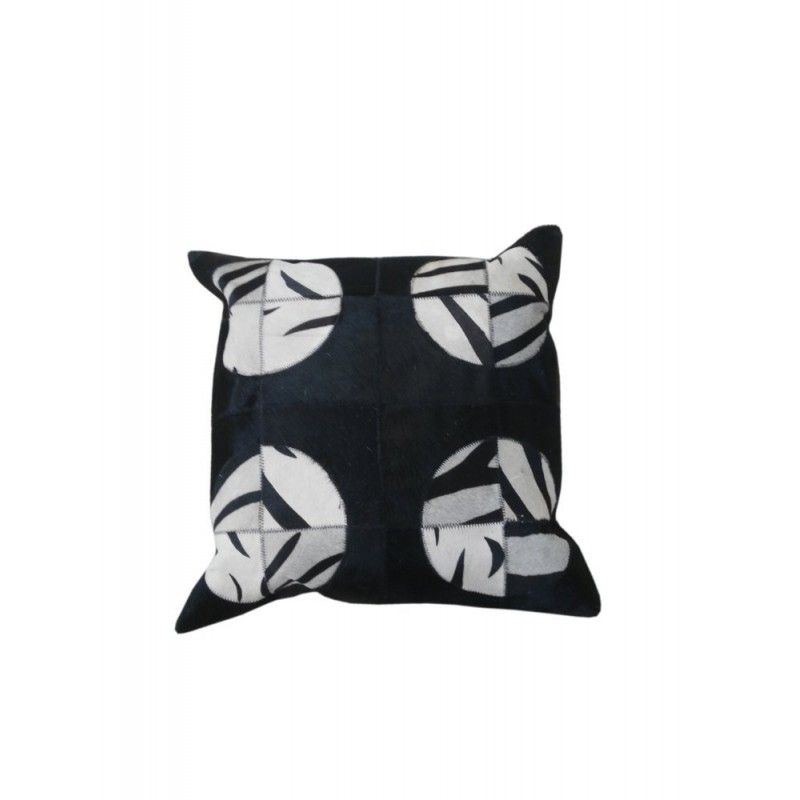 Cowhide Cushion Patchwork, 17x17, Leather Cushion Decorative Cushion 1