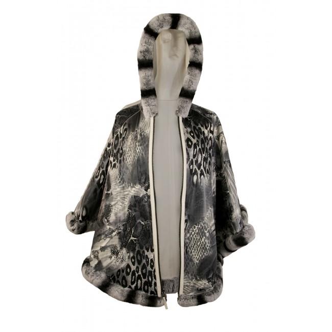Poncho reversible de piel con capucha de conejo y cierre de cremallera