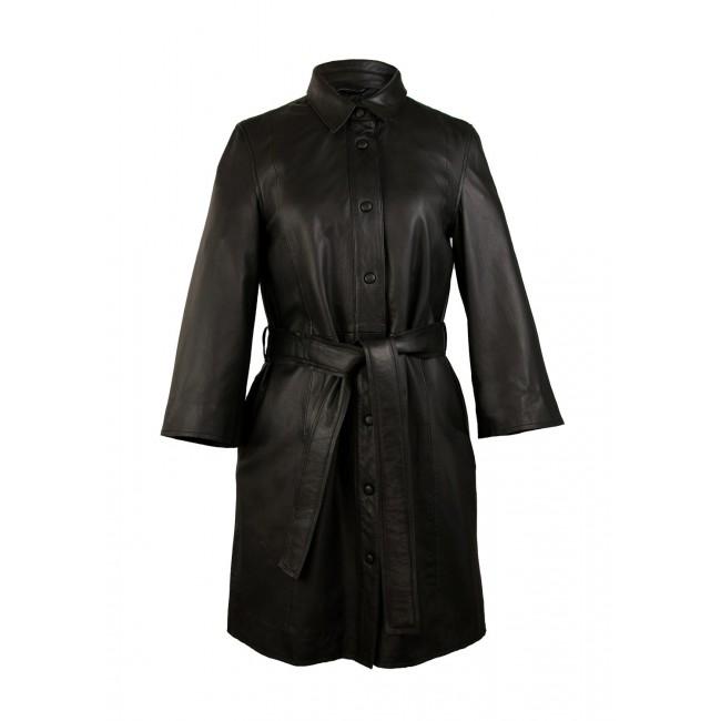 Vestido y abrigo de piel dos en uno, con cinturon y cierre de botones