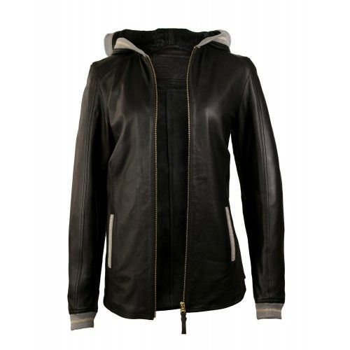 Leather jacket with hood...