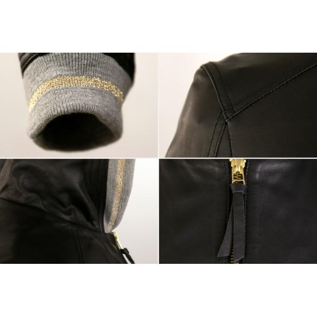 Chaqueta de piel con capucha y detalle gris-dorado