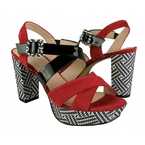 Two-tone heeled leather...