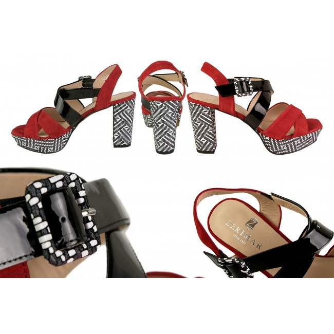 Two-tone heeled leather sandals with print and platform