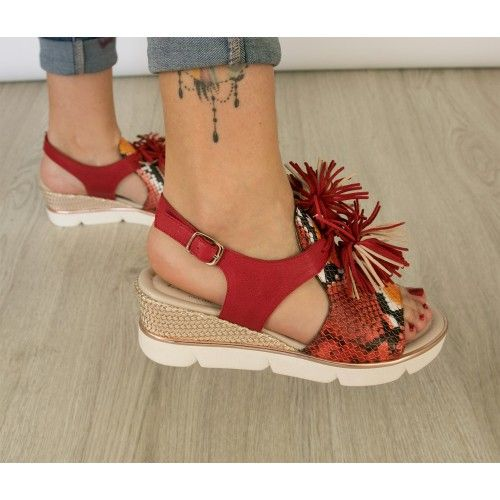 Leather sandals with snake...