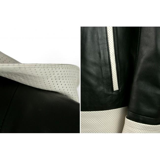 Chaqueta de piel con capucha perforada bicolor y cierre de cremallera