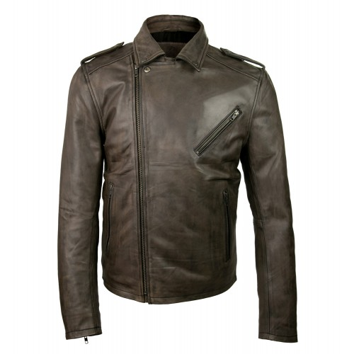 Leather biker jacket with...