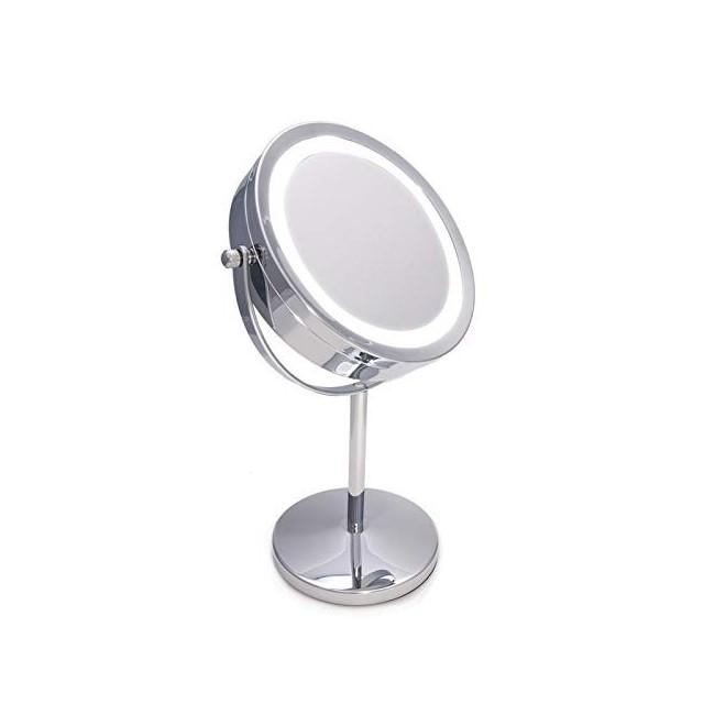 Espejo de maquillaje con luz y aumento con rotación