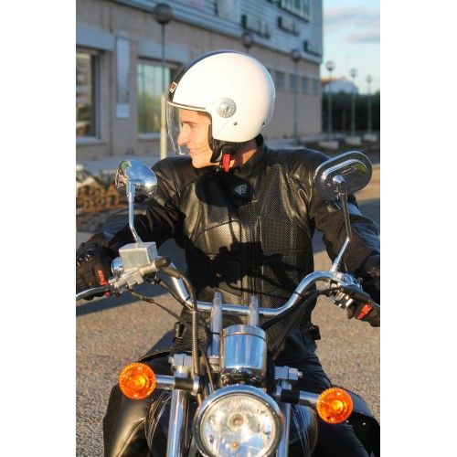 Chaqueta de moto de piel...