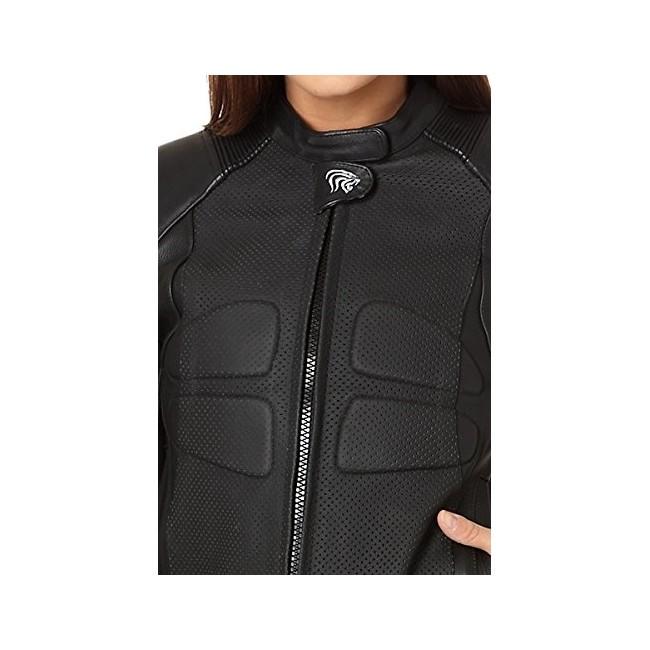 Chaqueta de piel de moto con protecciones