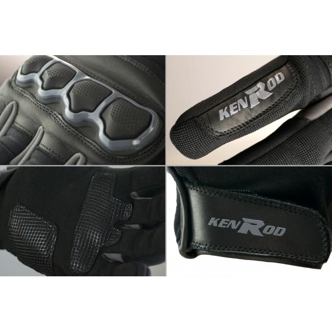 Guantes de moto de piel con protecciones y líneas fluor