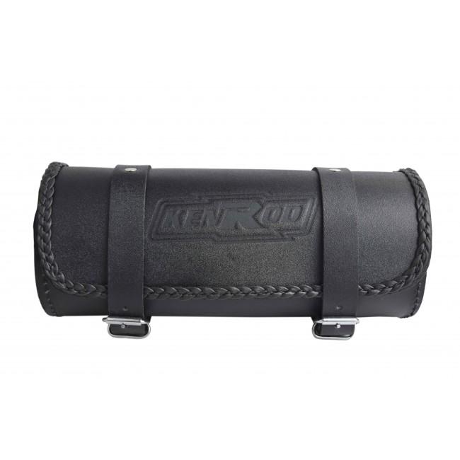 Rulo portaherramientas para motos de cuero liso con borde trenzado