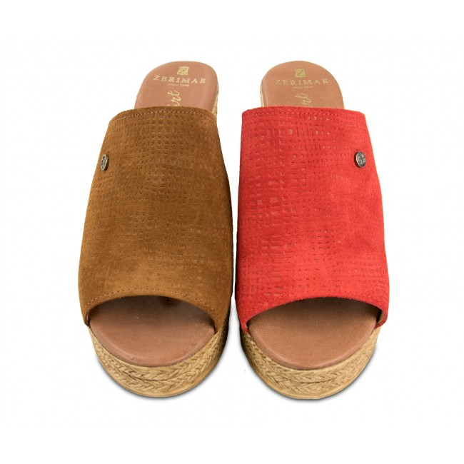 Clogs leather sandals with heel model CITY