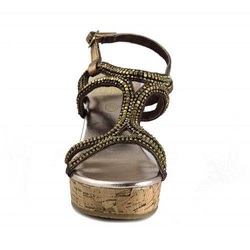 Sandalias de piel con cuña...