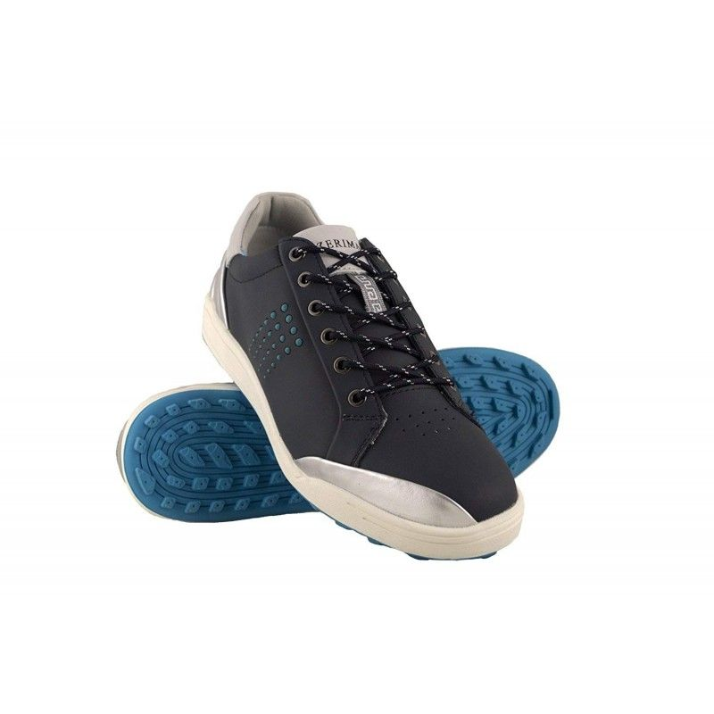Golf shoes in leather with metallic front