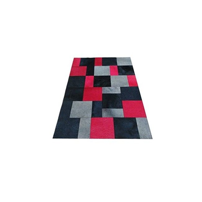 Cowhide Area Rug Patchwork, 47x70 in, Area Rugs Living Room 5