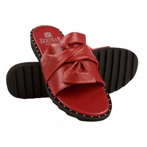 Flat leather sandals with...